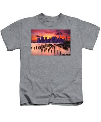 Manhattan Sunset Kids T-Shirt