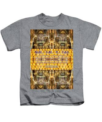 Notre-dame Cathedral Rose Stained Glass Candles Novel Quote Kids T-Shirt