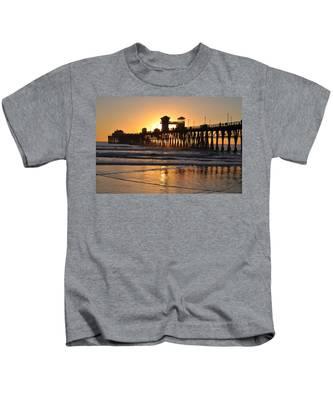 Kids T-Shirt featuring the photograph Oceanside Pier by Bridgette Gomes