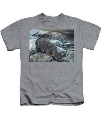 Otter On Rocks Kids T-Shirt