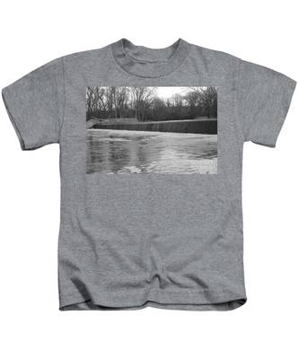 Pompton Spillway In January Kids T-Shirt