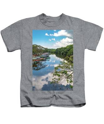 River Boats Docked In Negril, Jamaica Kids T-Shirt