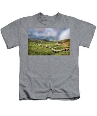 Sheep In Carphatian Mountains Kids T-Shirt