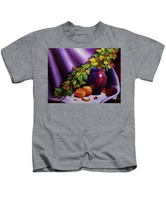 Still Life W/purple Vase Kids T-Shirt