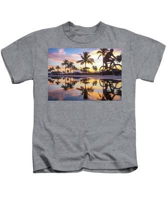 Sunrise Cyclist Delray Beach Florida Kids T-Shirt