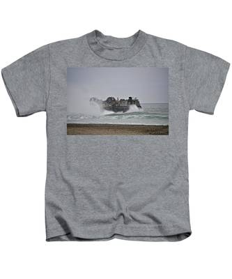 Kids T-Shirt featuring the photograph Us Navy Hovercraft by Bridgette Gomes