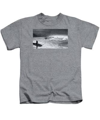 Waiting For The Surf By Mike-hope Kids T-Shirt