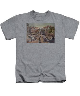 Winter At The Boulevard De La Madeleine, Paris Kids T-Shirt