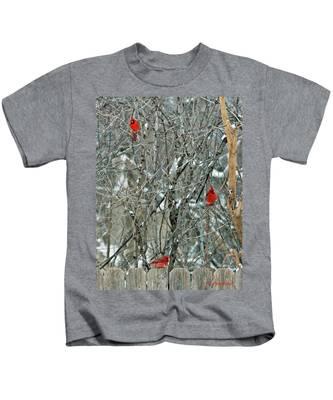 Winter Cardinals Kids T-Shirt