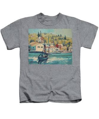 Boat Of Albert In Loggos Harbour Kids T-Shirt