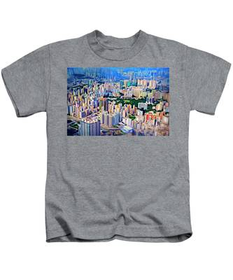 Kids T-Shirt featuring the photograph Crowded Hong Kong Abstract by Endre Balogh