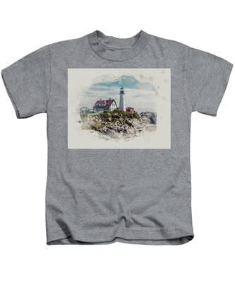 Portland Head Lighthouse Cape Elizabeth Maine Kids T-Shirt
