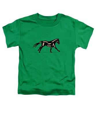 Toddler T-Shirt featuring the digital art Clementine - Pop Art Horse - Black, Hazelnut, Emerald by Manuel Sueess