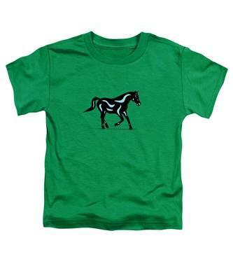 Toddler T-Shirt featuring the digital art Heinrich - Pop Art Horse - Black, Island Paradise Blue, Greenery by Manuel Sueess