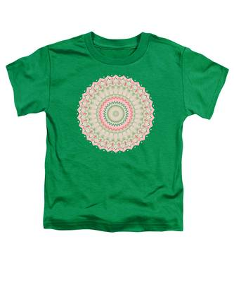Pink And Green Mandala Fractal 004 Toddler T-Shirt