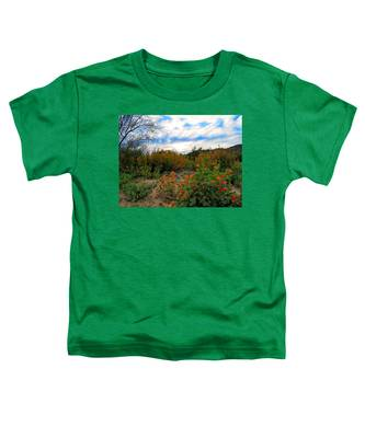 Toddler T-Shirt featuring the photograph Desert Wildflowers In The Valley by Judy Kennedy