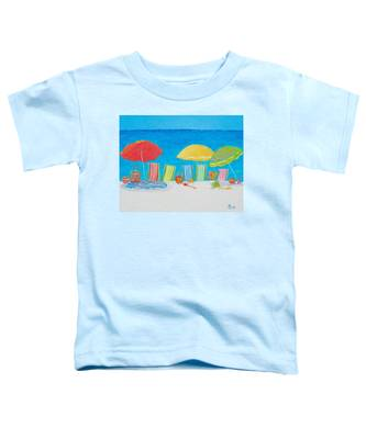 Beach Painting - Deck Chairs Toddler T-Shirt