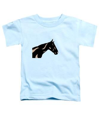 Toddler T-Shirt featuring the digital art Crimson - Pop Art Horse - Black, Hazelnut, Island Paradise Blue by Manuel Sueess