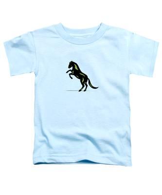Toddler T-Shirt featuring the digital art Emma - Pop Art Horse - Black, Greenery, Island Paradise Blue by Manuel Sueess