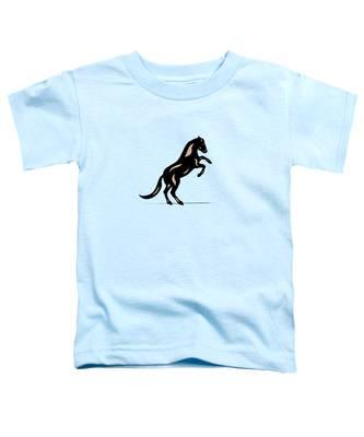 Toddler T-Shirt featuring the digital art Emma II - Pop Art Horse - Black, Hazelnut, Island Paradise Blue by Manuel Sueess