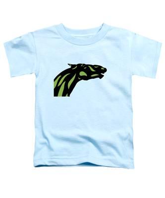 Toddler T-Shirt featuring the digital art Fred - Pop Art Horse - Black, Greenery, Island Paradise Blue by Manuel Sueess