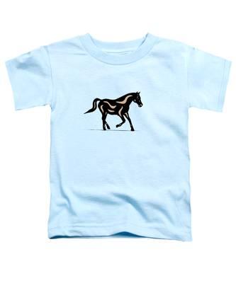 Toddler T-Shirt featuring the digital art Heinrich - Pop Art Horse - Black, Hazelnut, Island Paradise Blue by Manuel Sueess