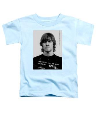 Kurt Cobain Mug Shot Vertical Black And Gray Grey Toddler T-Shirt