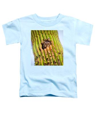 Toddler T-Shirt featuring the photograph Screech Owl In Saguaro by Judy Kennedy