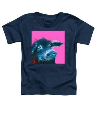Black Pig Painting On Pink Background Toddler T-Shirt