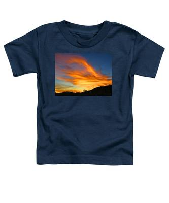 Toddler T-Shirt featuring the photograph Flaming Hand Sunset by Judy Kennedy