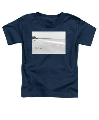 Sand Meets The Sea In Black And White Toddler T-Shirt