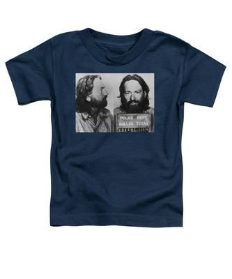 Willie Nelson Mug Shot Horizontal Black And White Toddler T-Shirt