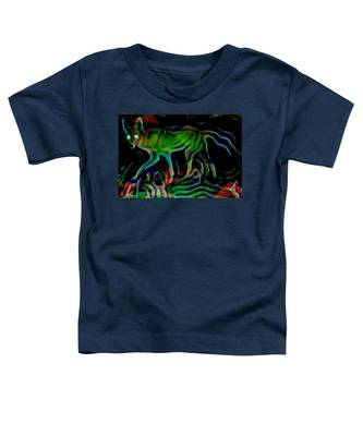 Neon Coyote Toddler T-Shirt by Judy Kennedy