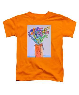 Flowers In An Orange Mason Jar Toddler T-Shirt