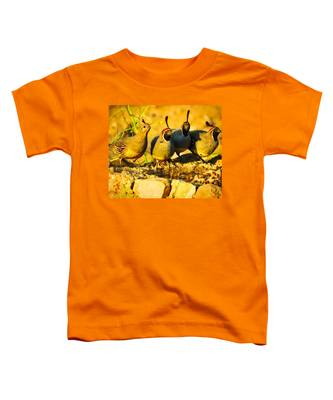 Toddler T-Shirt featuring the photograph Gambel's Quail Foursome by Judy Kennedy