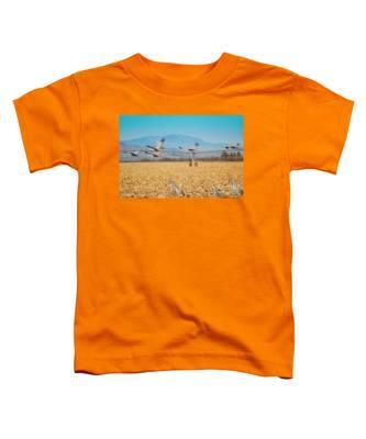Sandhill Cranes In Flight Toddler T-Shirt