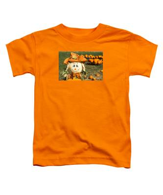 Smiling Scarecrow With Pumpkins Toddler T-Shirt