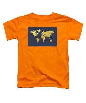 World Map Gold Foil Toddler T-Shirt
