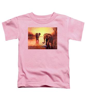 African Elephants At Sunset In The Serengeti Toddler T-Shirt