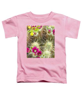 Toddler T-Shirt featuring the photograph Cholla Cactus Blooms by Judy Kennedy