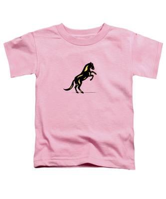 Toddler T-Shirt featuring the digital art Emma II - Pop Art Horse - Black, Primrose Yellow, Pink by Manuel Sueess