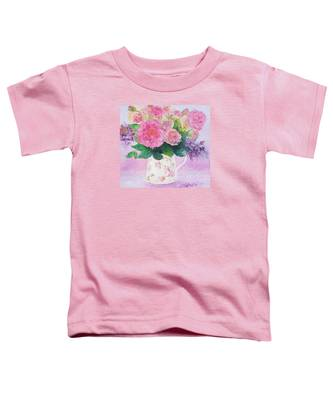 Roses In A Pink Floral Jug Toddler T-Shirt