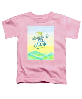 The Mountains Are Calling Yellow Blue Sky Watercolor Painting Toddler T-Shirt