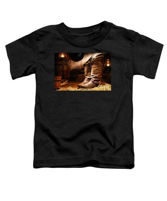 Cowboy Boots In A Ranch Barn Toddler T-Shirt