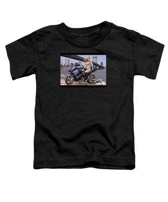 Bike, Babe, And Bridge In The Big Apple Toddler T-Shirt