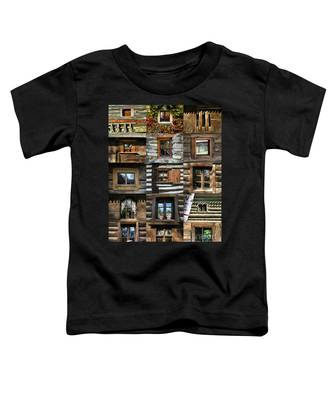 Collage From Handmade Traditional Wooden  Windows In Village Museum Bucharest Toddler T-Shirt