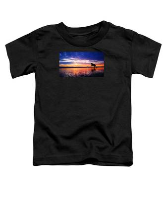 Dog Chasing Stick At Sunrise Toddler T-Shirt