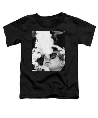 John F Kennedy Cigar And Sunglasses Black And White Toddler T-Shirt