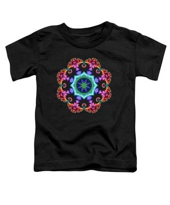 Satin Rainbow Fractal Flower I Toddler T-Shirt