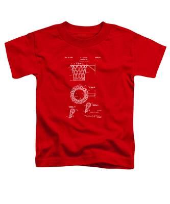 1951 Basketball Net Patent Artwork - Red Toddler T-Shirt